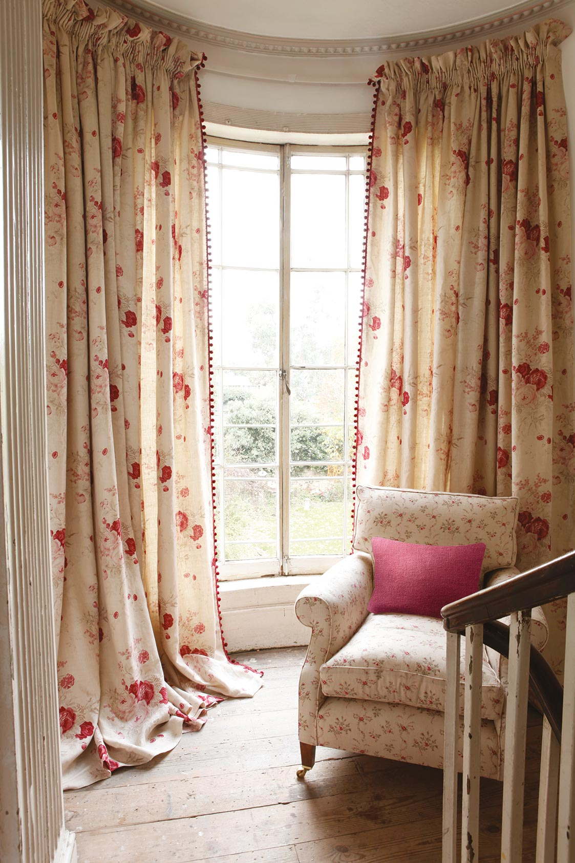 Roses Curtains and Sprig Chair
