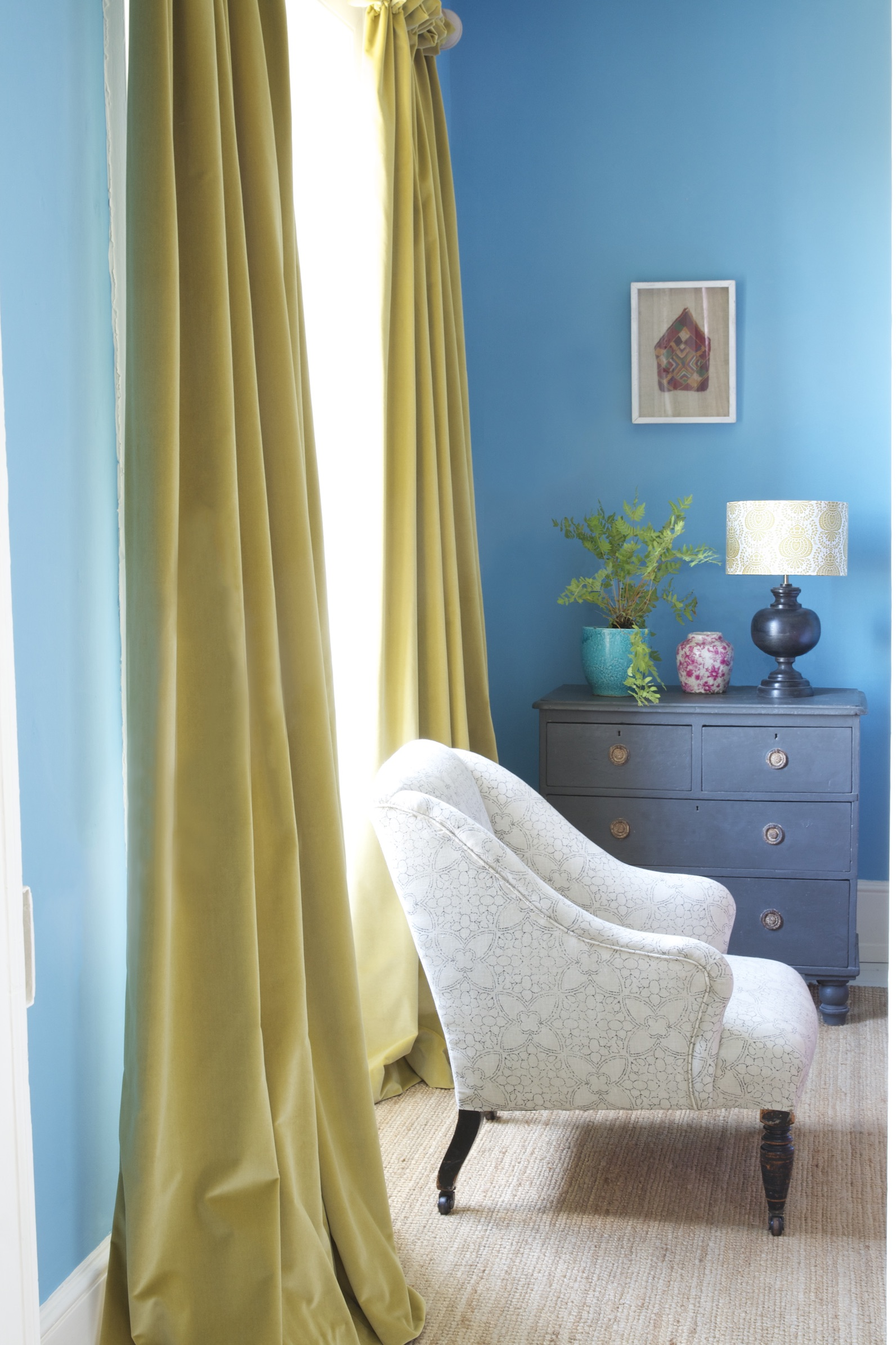 Yellow Velvet Curtains & Manon Charcoal Chair