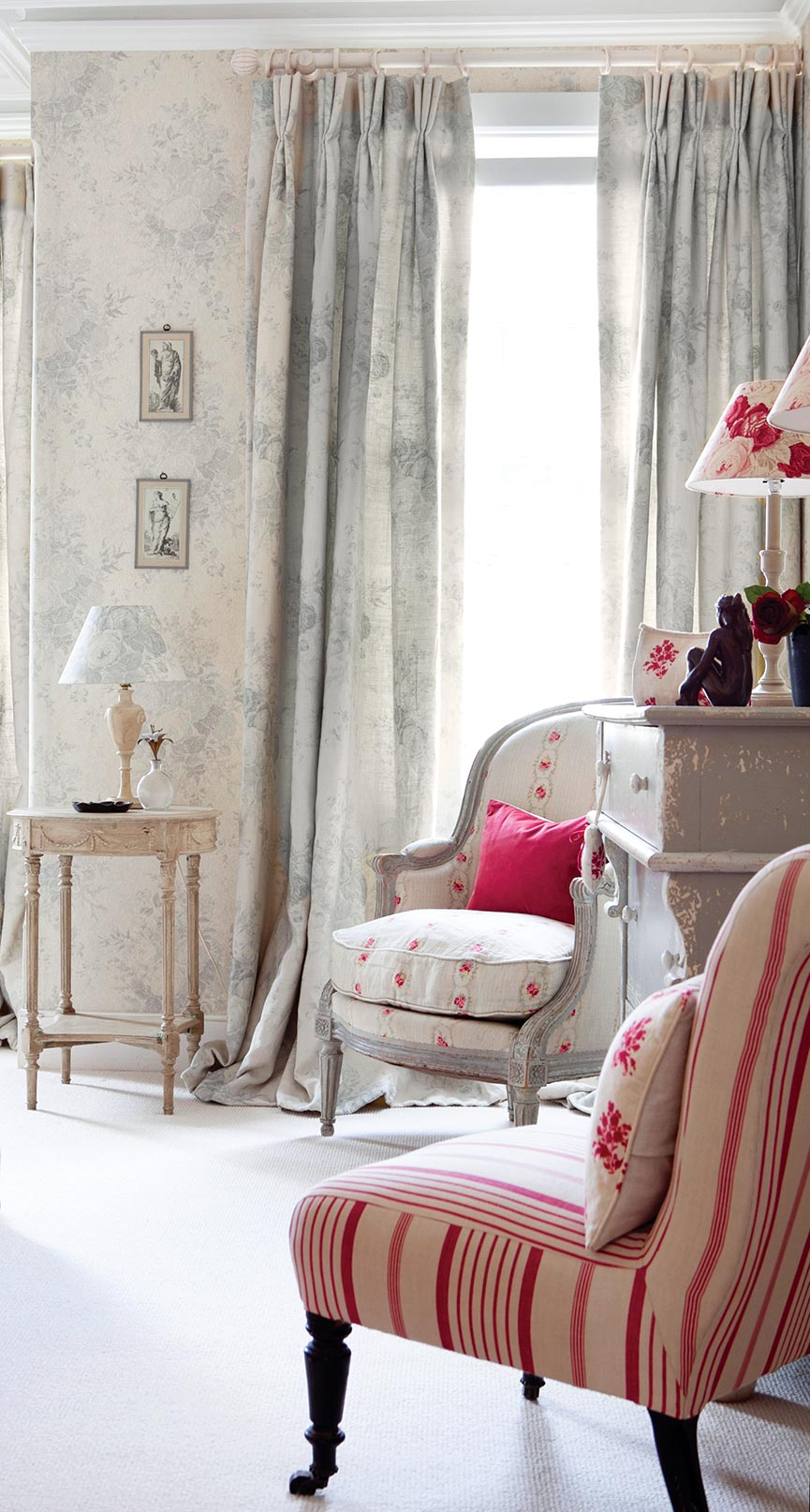 Blue Roses Curtains and Cameo Rose and Red Ticking