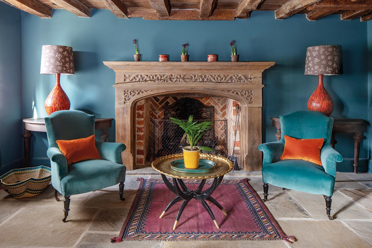 Teal Velvet Chairs and Anya Aubergine Shades