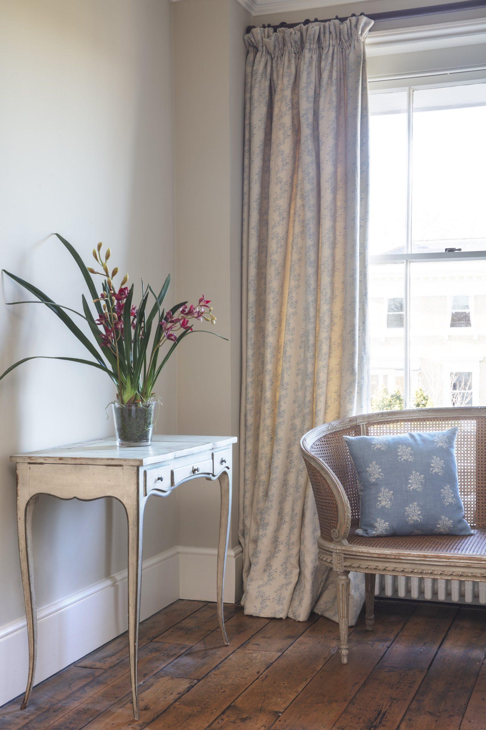 daphne blue curtains and agnes blue cushion