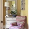 ikat stripe chair and isla yellow shade