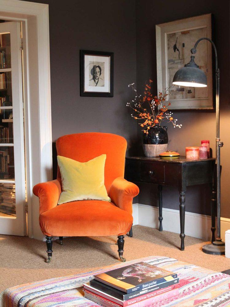 Kate Forman Orange velvet roomset