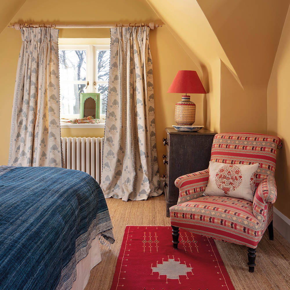 Malika Blue Curtains and Ikat Chair