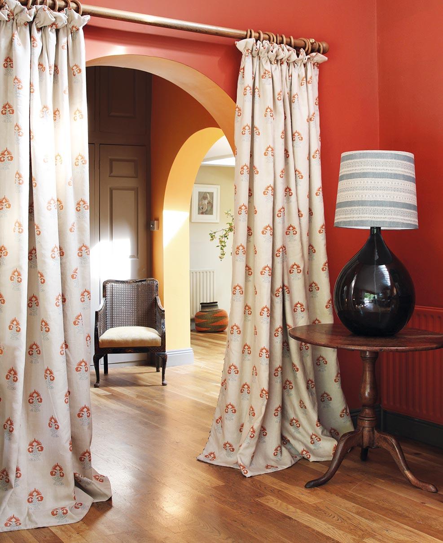 Iona Orange Curtains Hallway