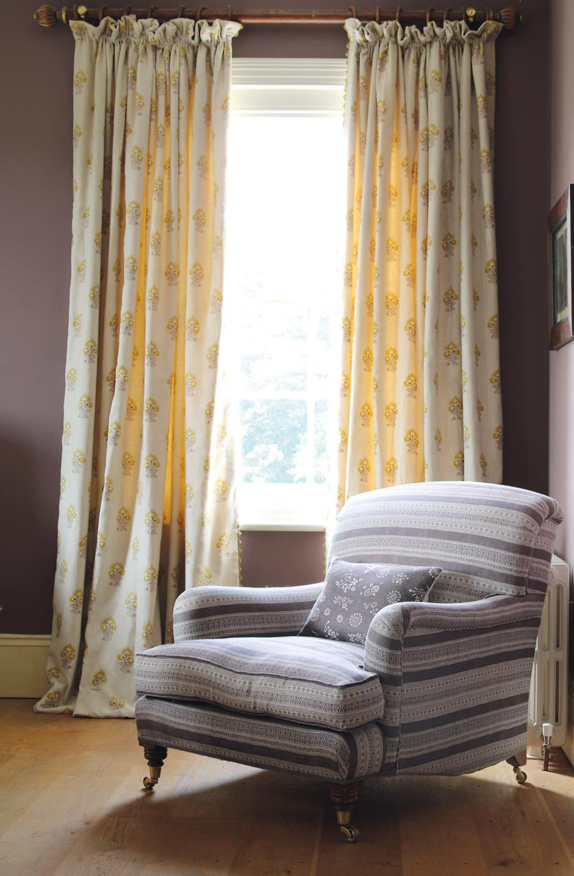 Iona Yellow Curtains with Anoushka Aubergine Chair