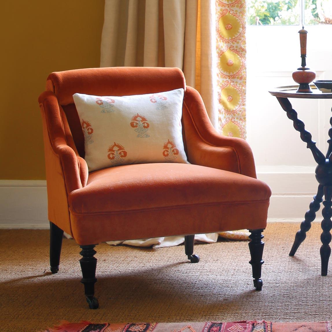 Light Plain & Hirmani Saffron Curtains and Orange Velvet Chairs_CROP