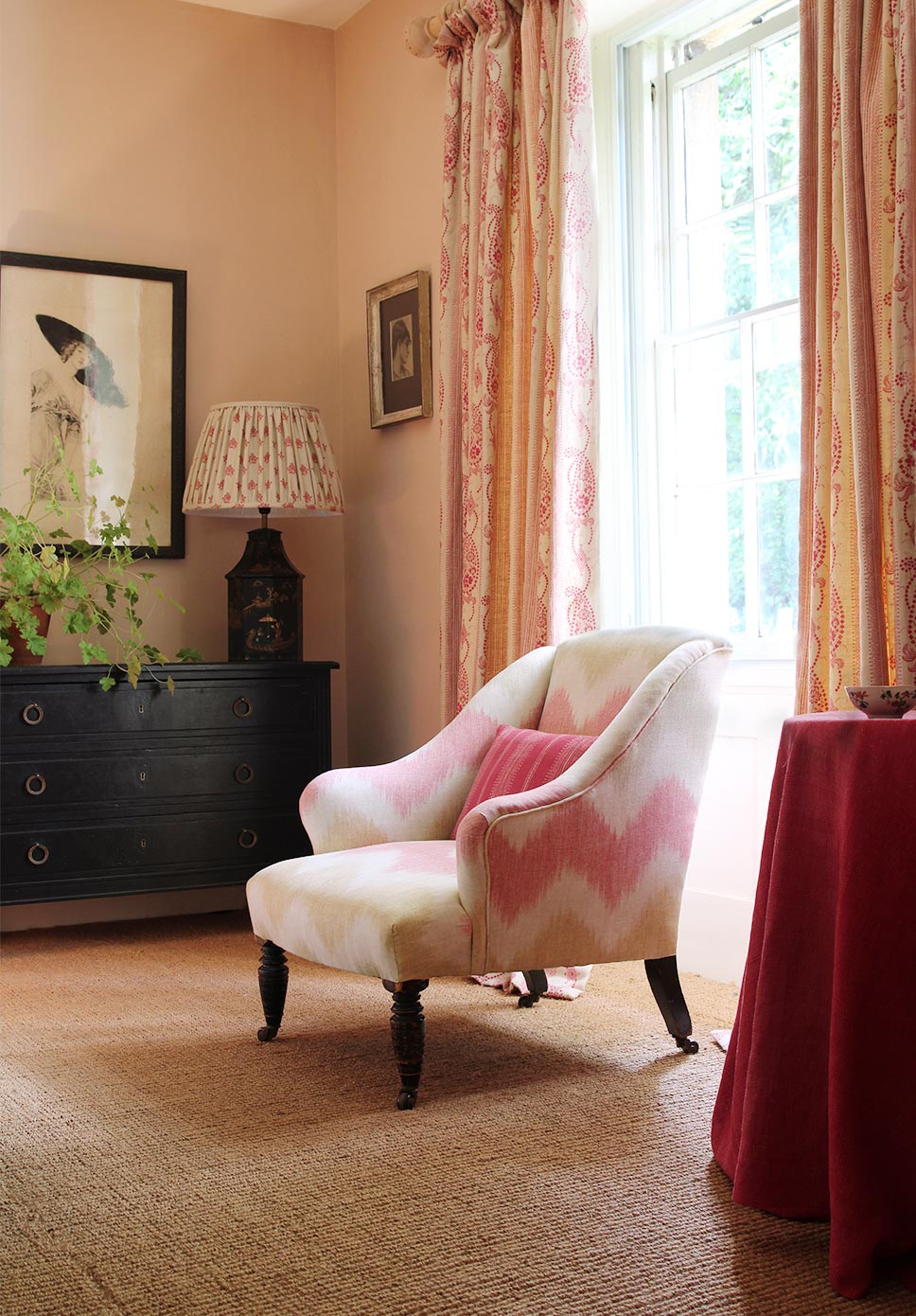 Thea Chair and Angelique Pink Curtains